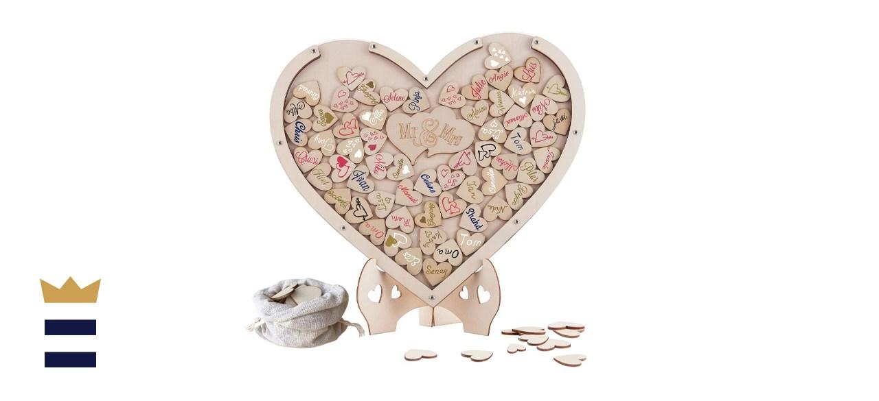 Y&K Molish Wooden Hearts Guest Book