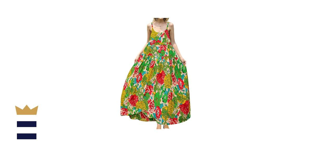 Yesno Loose Bohemian Floral Print Maxi Dress