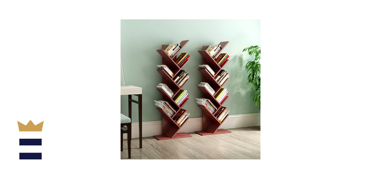 YITAHOME Shelf Tree Magazine Geometric Bookcase This one has nine slanted shelves perfect for books, CDs or DVDs.