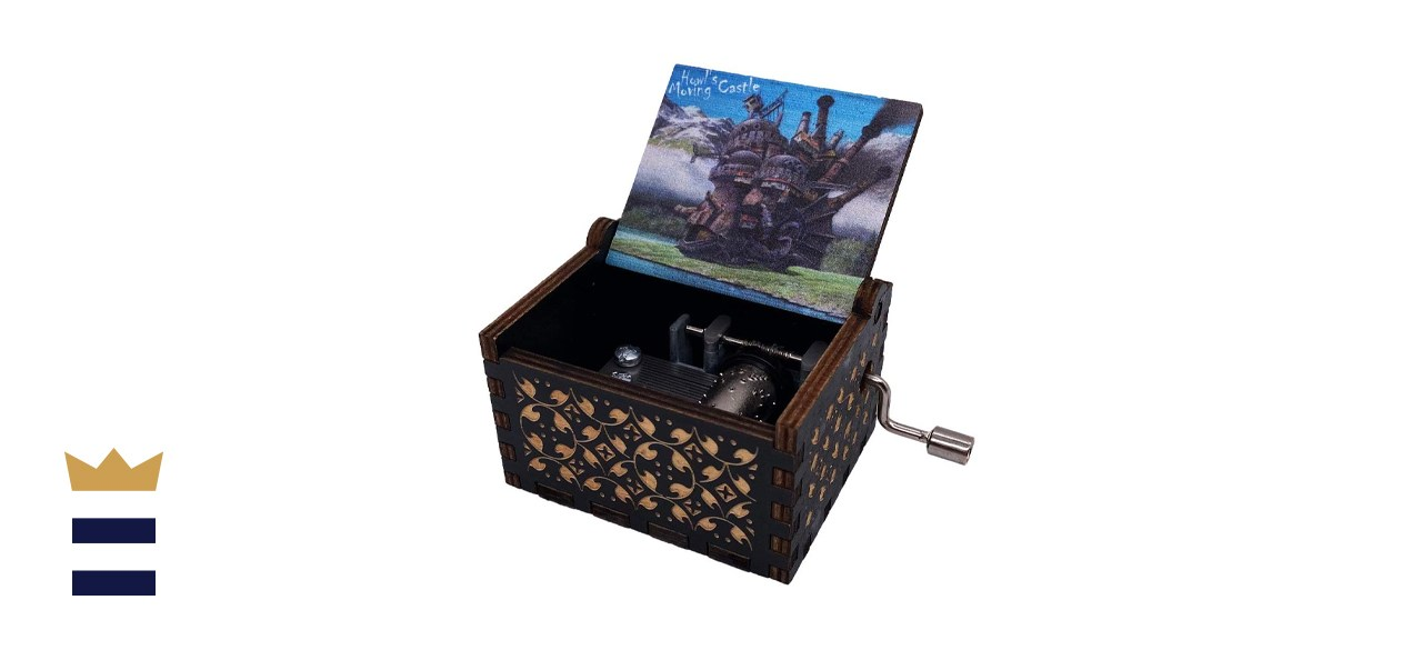 Youtang Howl's Moving Castle Engraved Wood Musical Box