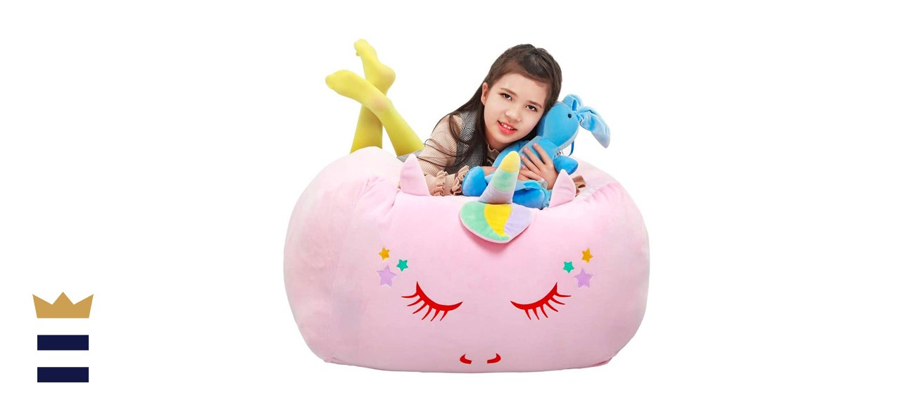 Yoweenton Unicorn Stuffed Animal Toy Bean Bag Chair Cover
