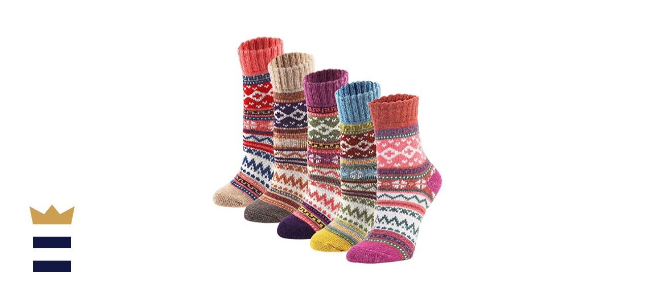 YZKKE Vintage Knit Wool Crew Socks 5-Pack