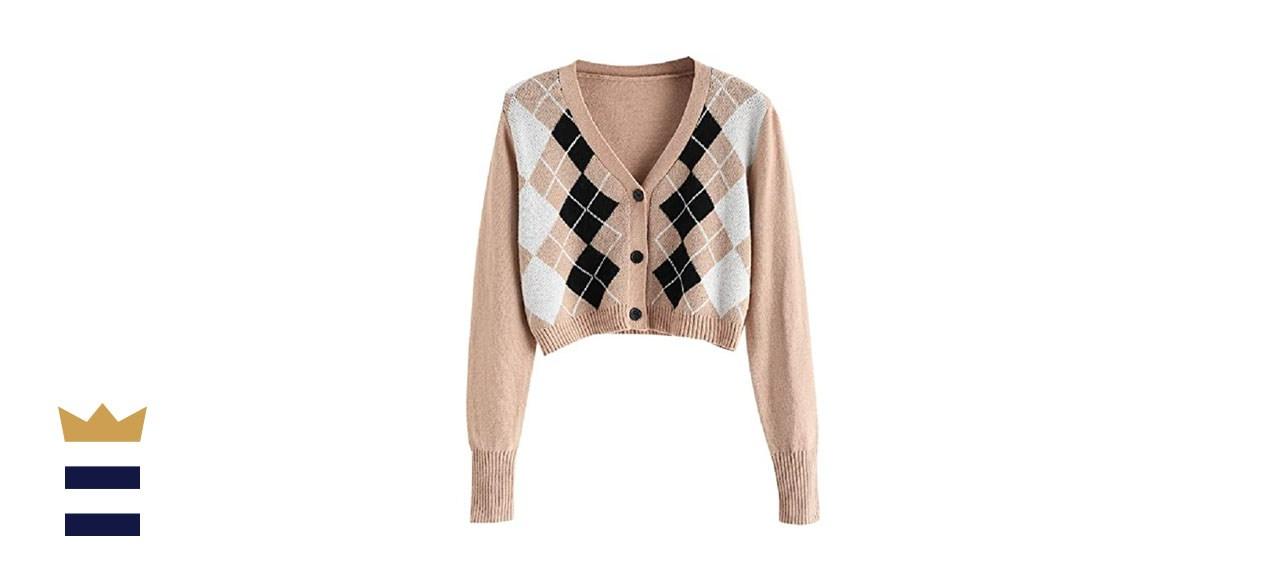 Zaful Women's Button-Down Long Sleeve Cropped Cardigan
