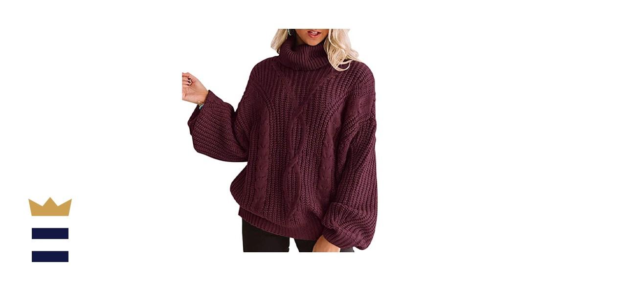 ZESICA Women's Long Sleeve Turtleneck Chunky Knit Loose Oversized Sweater
